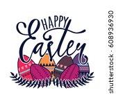 vector happy easter... | Shutterstock .eps vector #608936930