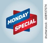 monday special arrow tag sign.   Shutterstock .eps vector #608937074