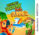 hello summer cartoon | Shutterstock .eps vector #608937224