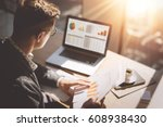 young finance market analyst in ... | Shutterstock . vector #608938430