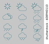 weather signs. vector. isolated.   Shutterstock .eps vector #608940110
