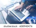 businessman working with laptop ... | Shutterstock . vector #608940476