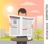 man holding and reading open... | Shutterstock .eps vector #608940704