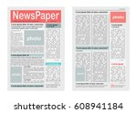 two pages of newspaper vector... | Shutterstock .eps vector #608941184