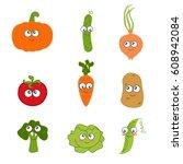 cartoon vegetable cute... | Shutterstock .eps vector #608942084