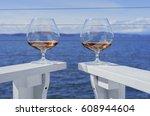 two snifter glasses of brandy...   Shutterstock . vector #608944604