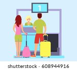 tourists check in at the... | Shutterstock .eps vector #608944916