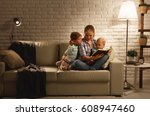 family before going to bed... | Shutterstock . vector #608947460