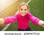 young beautiful blonde hair... | Shutterstock . vector #608947910