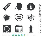 safe sex love icons. condom in... | Shutterstock .eps vector #608949650