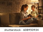 family before going to bed... | Shutterstock . vector #608950934