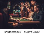 upper class friends gambling in ... | Shutterstock . vector #608952830