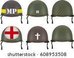 set of military us green... | Shutterstock . vector #608953508