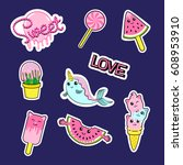 fashion patch badges with... | Shutterstock .eps vector #608953910
