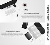 designer office works pace with ... | Shutterstock .eps vector #608958368