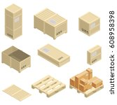 isometric wooden boxes on white.... | Shutterstock .eps vector #608958398