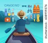 canoeing concept. vector...   Shutterstock .eps vector #608959376