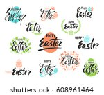 happy easter greeting card. set ... | Shutterstock .eps vector #608961464