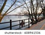 frozen lake and bridge with... | Shutterstock . vector #608961536