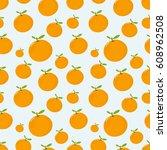 seamless pattern with mandarin | Shutterstock .eps vector #608962508