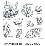 set of hand drawn semiprecious... | Shutterstock .eps vector #608963000