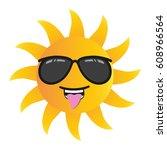 happy funny cartoon sun smiling ... | Shutterstock .eps vector #608966564