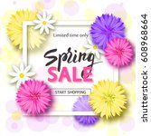 spring sale background with... | Shutterstock .eps vector #608968664