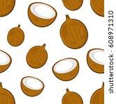 seamless pattern with cartoon... | Shutterstock .eps vector #608971310