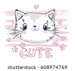 Stock vector hand drawn cute cat vector illustration 608974769