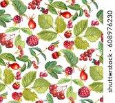 seamless watercolor pattern of... | Shutterstock . vector #608976230