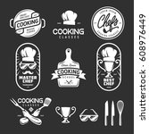 cooking classes labels badges... | Shutterstock .eps vector #608976449