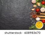 colorful spices in spoons and... | Shutterstock . vector #608983670