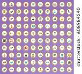 100 megapolis icons set in... | Shutterstock .eps vector #608984240