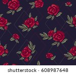 embroidered red roses. chic... | Shutterstock .eps vector #608987648