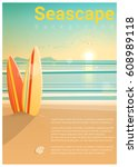 seascape background with... | Shutterstock .eps vector #608989118