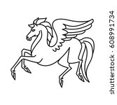 flat linear pegasus illustration | Shutterstock . vector #608991734