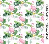 tropical jungle seamless... | Shutterstock .eps vector #608995040