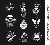 hand drawn kitchen quotes set.... | Shutterstock .eps vector #608995964