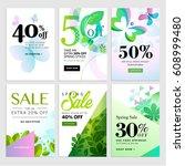 set of mobile spring sale... | Shutterstock .eps vector #608999480