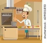 happy smiling chef character in ... | Shutterstock .eps vector #609001850