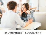 millennial couple fighting... | Shutterstock . vector #609007544