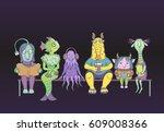 vector funny characters aliens...   Shutterstock .eps vector #609008366
