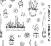 vector hand drawings of cacti... | Shutterstock .eps vector #609008408