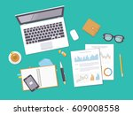 documents with charts  graphs ... | Shutterstock .eps vector #609008558