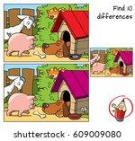 little pig  goat  cat and dog... | Shutterstock .eps vector #609009080