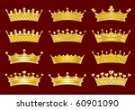 golden crowns set | Shutterstock .eps vector #60901090