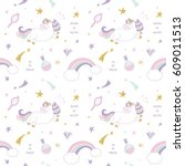 unicorn magic pattern... | Shutterstock . vector #609011513