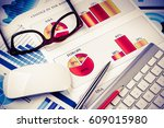 business workplace with... | Shutterstock . vector #609015980