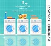 laundry room interior vector... | Shutterstock .eps vector #609019724