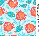 seamless pattern with fish ...   Shutterstock .eps vector #609022004